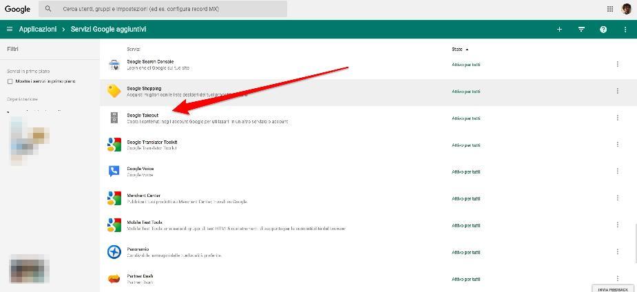 Google Takeout Console di Amministrazione