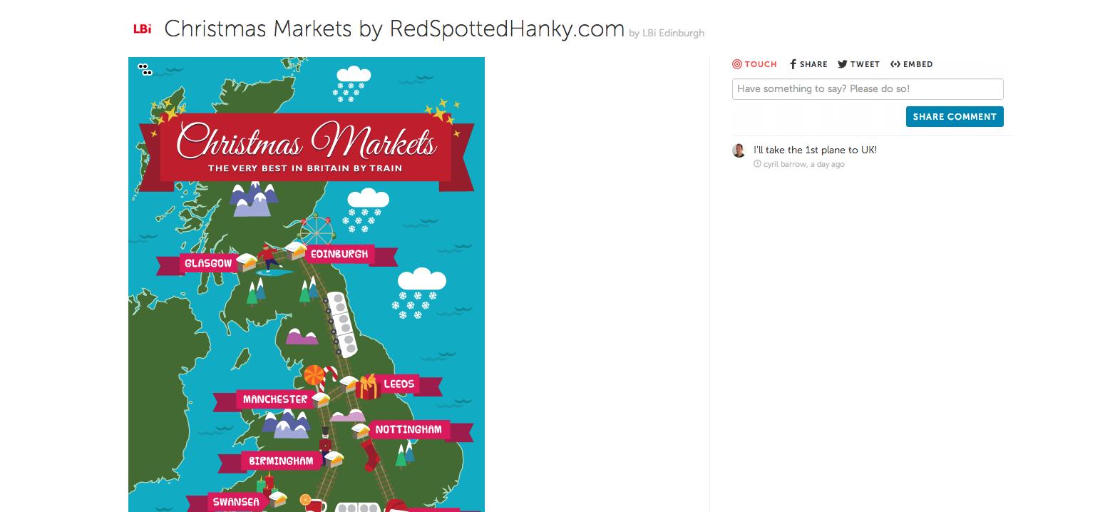 Esempio di un'immagine interattiva creata con ThingLink, i mercatini di Natale in Gran Bretagna
